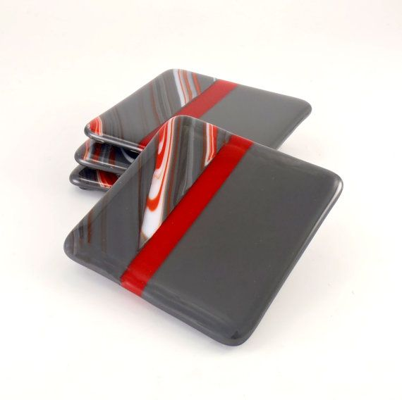 Gray and Red Fused Glass Coasters Set of Four by Nostalgianmore, $35.00