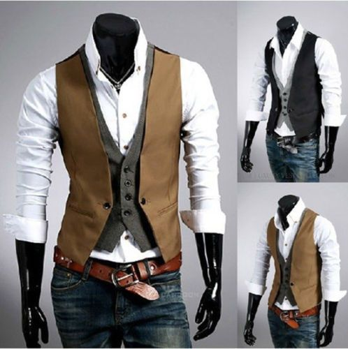 Vintage Personality fashion men's Slim two false design vest Waistcoat jacket http://www.ebay.com/itm/Vintage-Personality-fashion-mens-Slim-two-false-design-vest-Waistcoat-jacket-/380773291944?pt=US_CSA_MC_Outerwear&var=&hash=item58a7db57a8