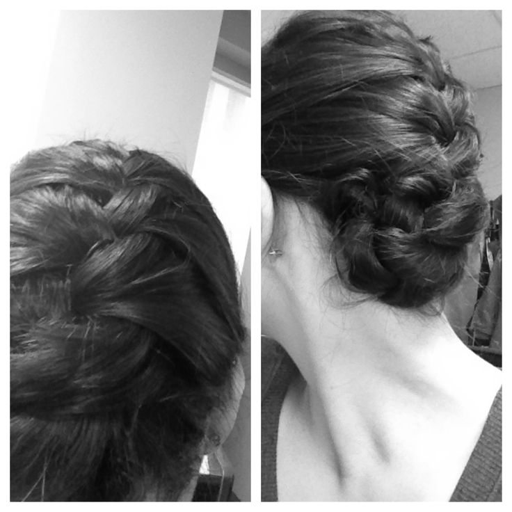 French braid with the end tucked underneath with a few bobby pins.