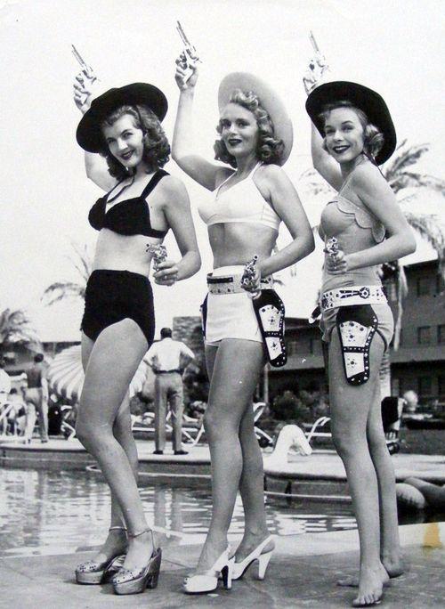 bikini poolside cowgirls