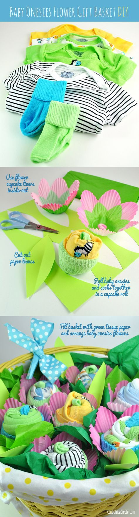 Get ready for the cutest ever DIY baby gift! Baby onesies flower basket tutorial www.clubchicacircle.com #babygifts #craftideas