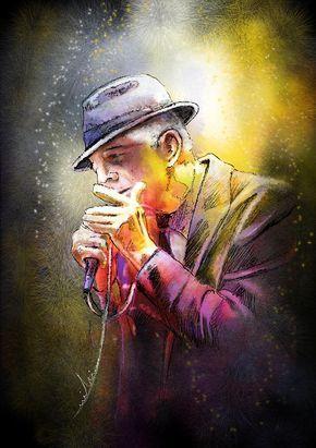 Leonard Cohen ~ Painting by Miki De Goodaboom