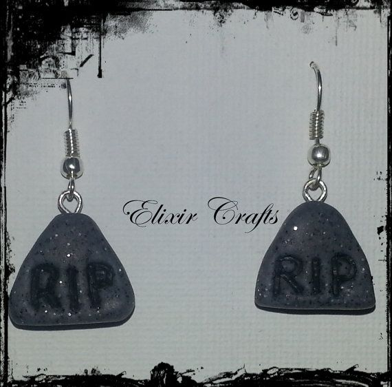 RIP Tombstone Halloween polymer clay earrings by ElixirCraftsGr, €2.50