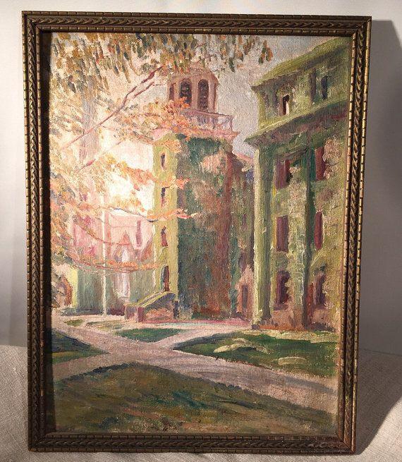 Sweet Vintage Painting on Board Weslyan Chapel by tandemantiques