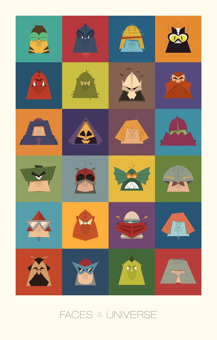 "He-Man and The Masters of the Universe art print created by James Boorman called ""Faces of the Universe."