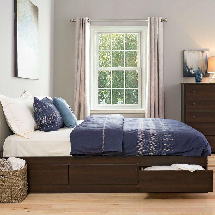 king size modern espresso platform bed frame with 6 storage drawers