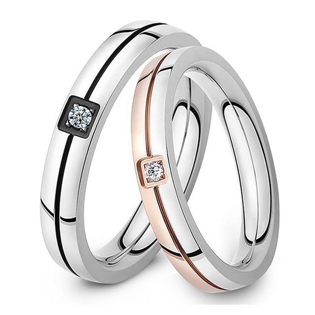 Оптовая 2016 мода изящных ювелирных изделий Титана Стали Циркон романтическая пара кольца мужчины женщины обручальное кольцо обручальное кольцо LGJ446