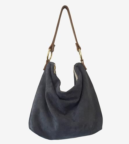 Slate Grey Suede Hobo Bag | Minimalist and slouchy, this suede hobo bag is a handsome choi... | Hobo Handbags