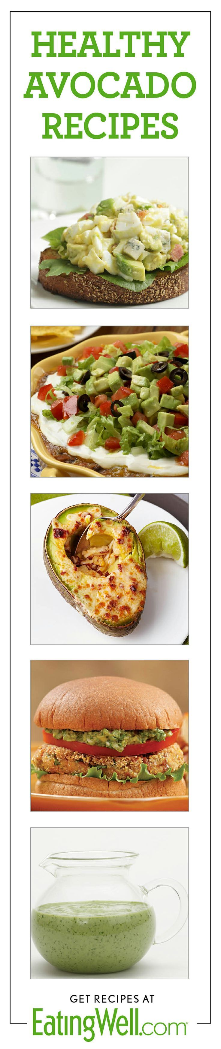 Dozens of healthy avocado recipes-- guacamole, sandwiches, dressings, salads, soups and more