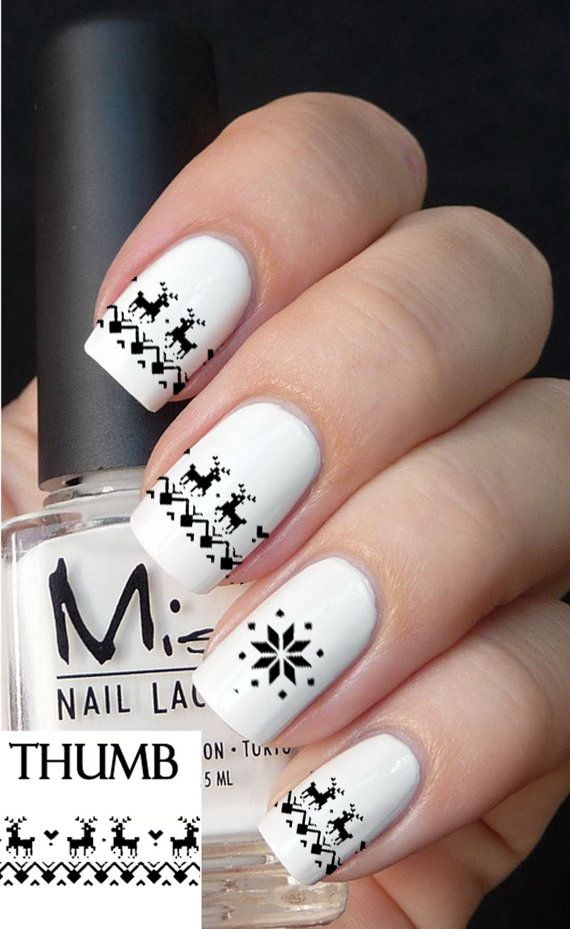 black christmas sweater nail decal by DesignerNails on Etsy, $3.95