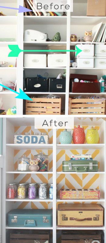 Herringbone Bookcase Makeover - DIY Home Decorating on a Budget - Click for Tutorial