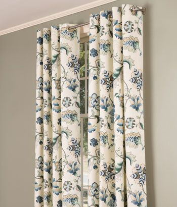 Jacobean Floral Lined Grommet Top Curtains