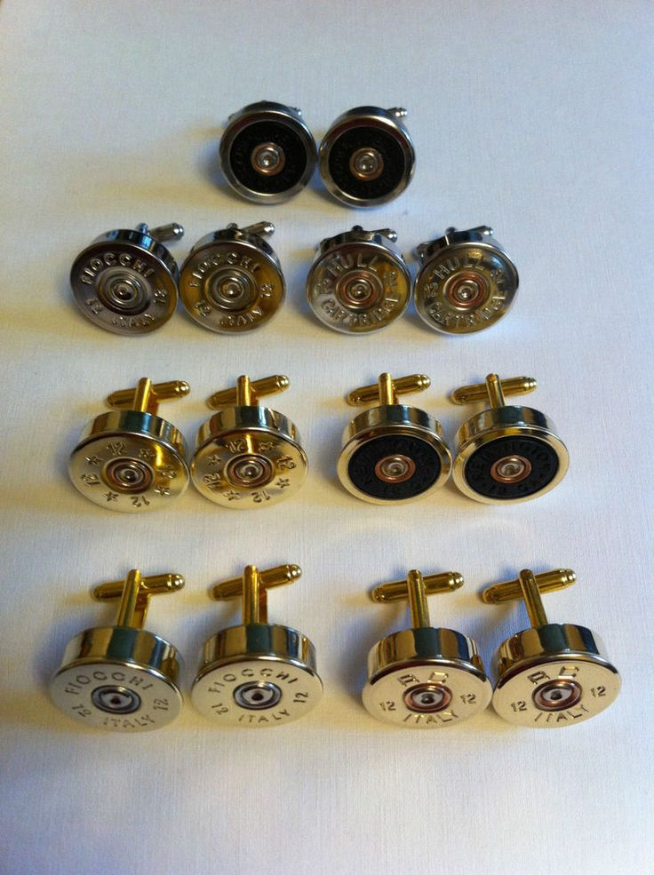 Shotgun shell cartridge cap cufflinks various brand clay, game shooting WEDDING!