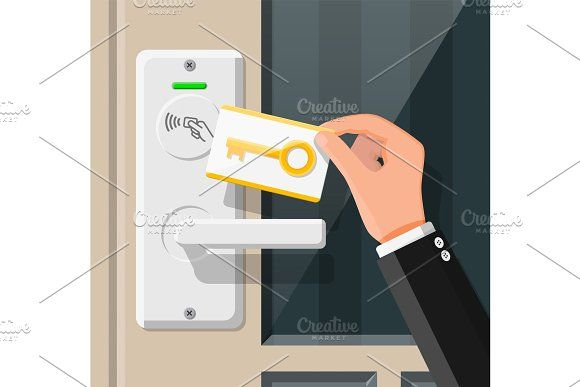 Wireless Key Card In Hand With Door Proximity Card Wireless Cards