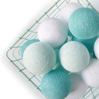 Cotton Ball Lights slinger mint-wit M - Cotton Ball Lights - Verlichting