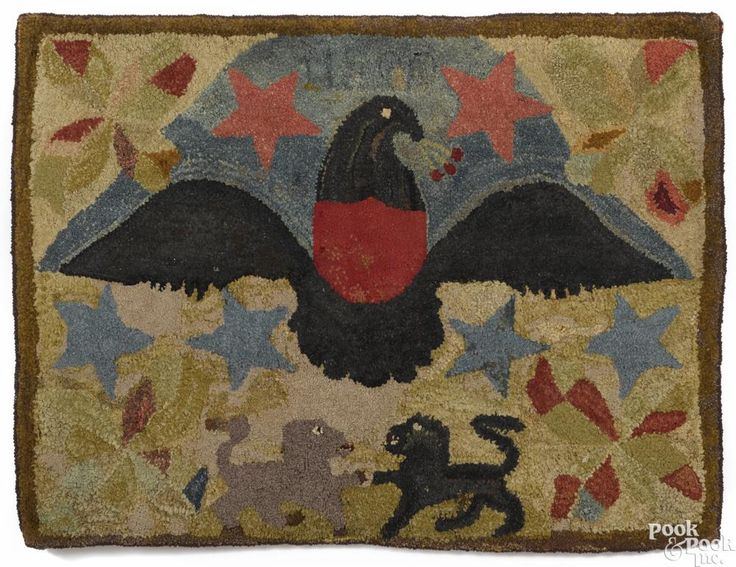 American hooked rug, 19th c., with a large spread winged eagle above two lions, 36'' x 48''. Provenance: Private Douglassville, Pennsylvania collection. ...~♥~