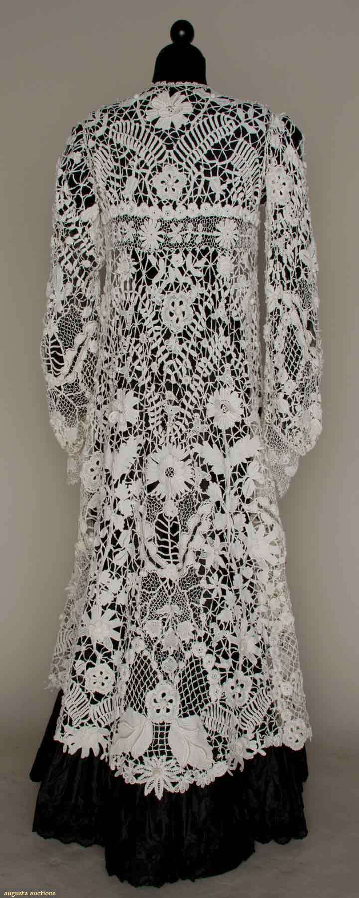 """IRISH CROCHET EDWARDIAN COAT, c.1905. White cotton, 3 dimensional leaf & blossom lace, empire top, A-line body, shaped long sleeves, L 49"""", excellent."""