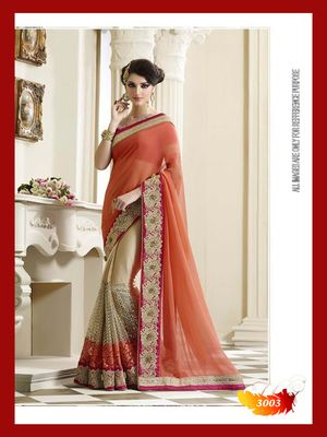 Beige embroidered chiffon saree With Blouse available online at Mirraw