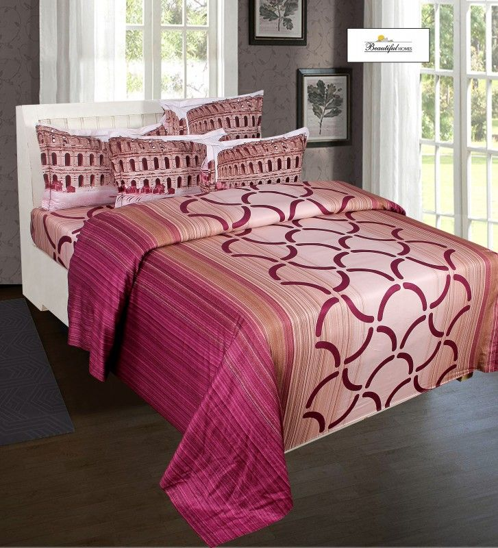Buy Pink Color Pure Cotton Hemritage King Size Double Bed