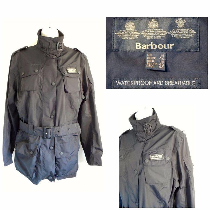 Barbour International Black Nylon Zip Up Jacket Size 10 US/14 UK   #Barbour #Raincoat