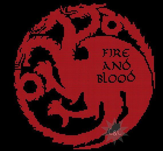 Game of Thrones Targaryen House sigil counted cross stitch printable PDF pattern
