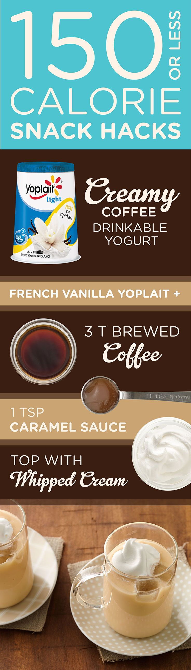 A Creamy Coffee treat without all the calories? Try this Creamy Coffee Yogurt drink featuring Yoplait Light Vanilla yogurt for a delicious snack with less than 150 calories.
