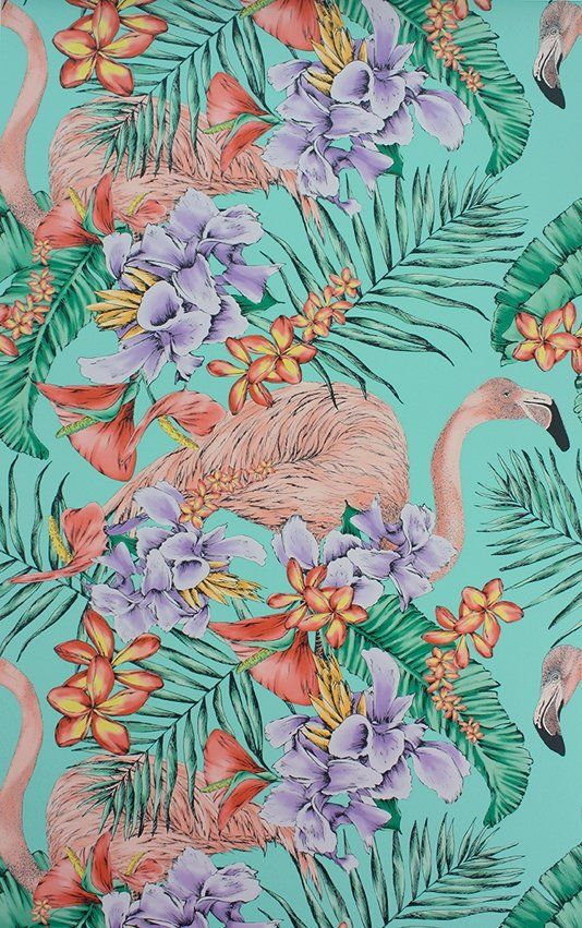 Flamingo Club Wallpaper A dazzling wallpaper with a colourful depiction of flamingos peering through exotic flora, shown in shades of coral and lavender on a jade ground.