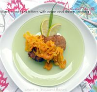 Brazilian Street Food, Acaraje ~ Black eyed pea fritters with onion and shrimp topping - Weave a Thousand Flavors
