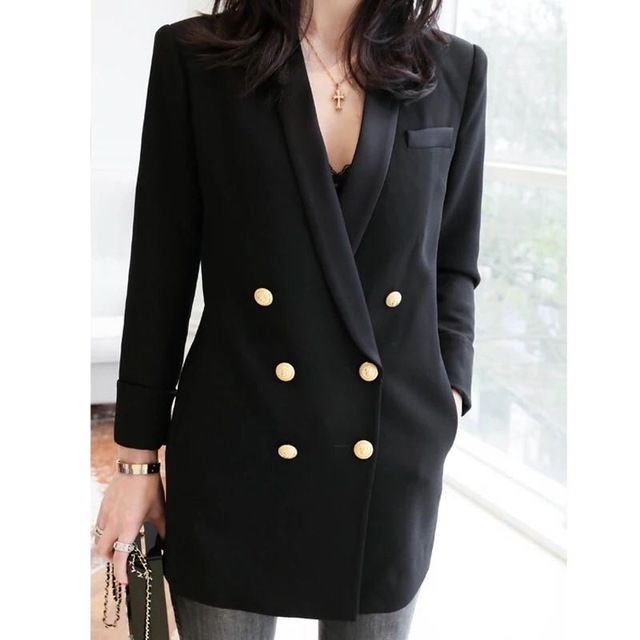 VogaIn 2016 Spring Women Luxury Limited Edition Long black Blazer With Pockets double breasted Gold Buttons women blazers coat US $155.00 Specifics Gender	Women Item Type	Blazers Decoration	Button Clothing Length	Long Pattern Type	Solid Closure Type	Double Breasted Brand Name	None Hooded	No Material	Polyester Collar	Notched Sleeve Length	Full Model Number	VOAGAIN32342523  Click to Buy :http://goo.gl/t9O329