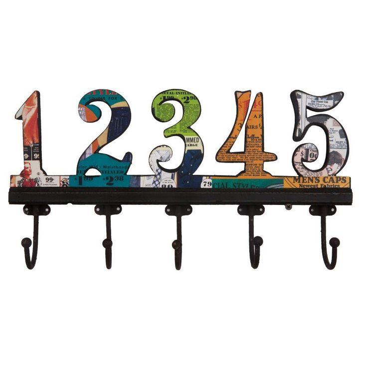NIKKY HOME Appendiabiti da Parete con Ganci Attaccapanni a Muro per Vestito Asciugamano Cappello Vintage in Metallo e Legno 1-5 Numeri Arabi Multicolore: Amazon.it: Casa e cucina
