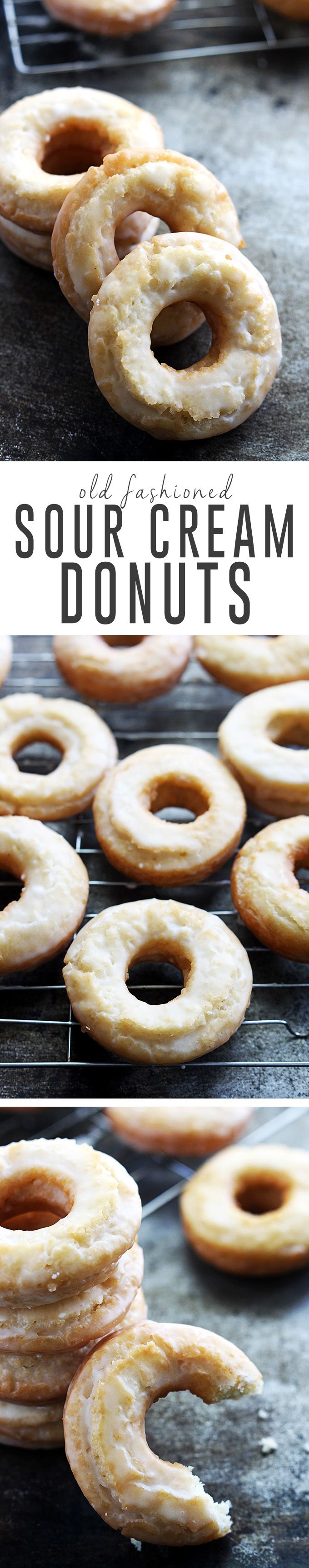 Homemade classic old fashioned sour cream donuts dipped in vanilla glaze. | Creme de la Crumb