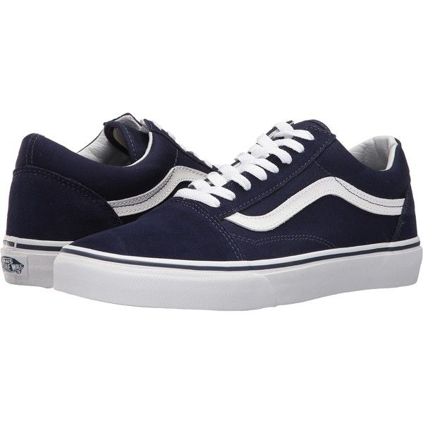 Vans Old Skool (Eclipse/True White) Skate Shoes ($48) ❤ liked on Polyvore featuring shoes, navy, breathable shoes, white leather shoes, leather skate shoes, navy leather shoes and shock absorbing shoes