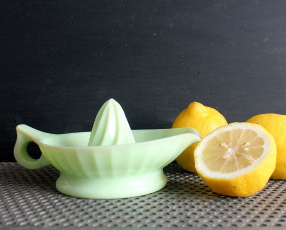 Vintage Jadeite Glass Reamer Farmhouse Juicer by shavingkitvintage