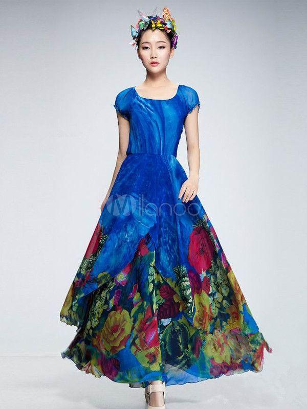 Deep Blue Floral Print Chiffon Maxi Dress Clothes I Like
