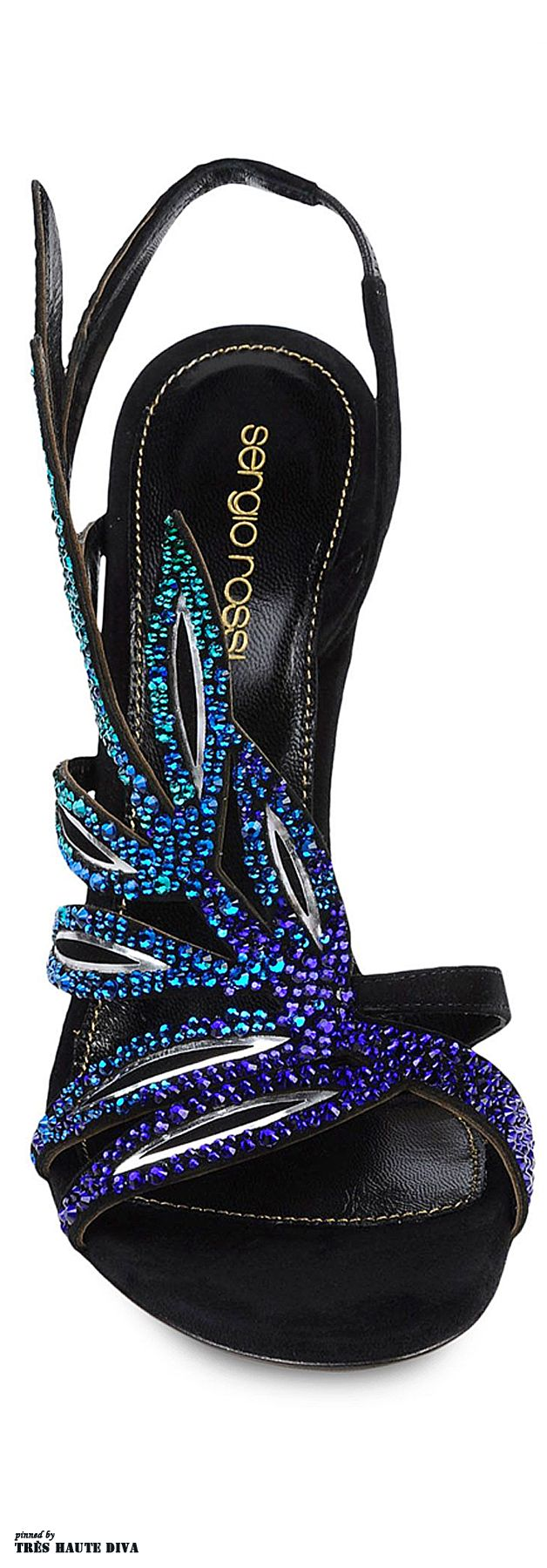 Sergio Rossi sandal laminated effect. Sueded. Rhinestone detailing. Leather sole. Spike heel.