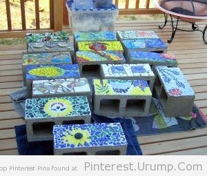Raised garden bed made out of mosaic cinder blocks. I think I may just do THIS for our garden this year! Turn them on their sides and plant the seedlings in the open holes…perfect containment, no room for weeds! ;)