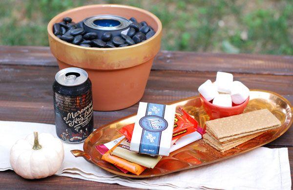 backyard s'mores setup