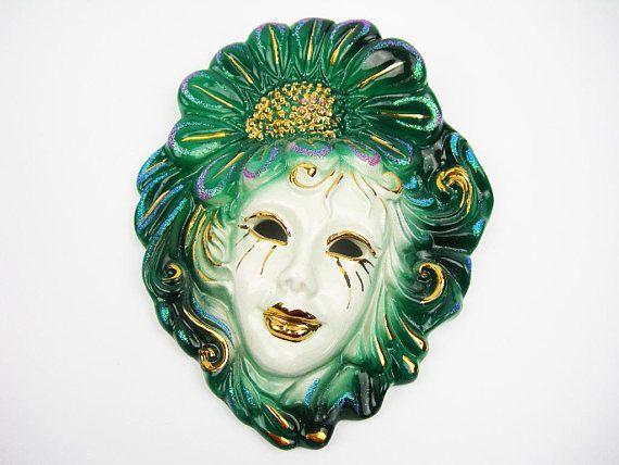 Venetian Woman Carnival Mask, Vintage Wall Decor, Deep Green, Gold Paint, Glitter, White Pottery, Made in Italy, 8x6.5, Mardi Gras, Baroque