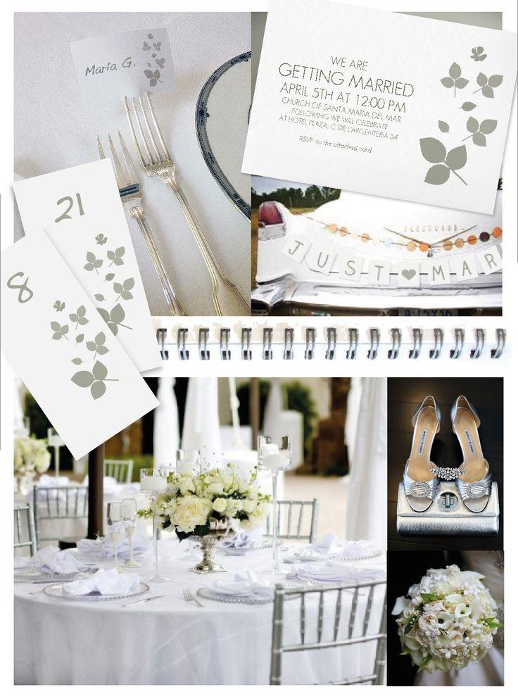 Ponemos a tu disposición 5 imprimibles (menú, números de mesa y tarjetas para nombres, todos editables, banderín de 'recién casados' y libro de pasatiempos) a conjunto con nuestra elegante invitación personalizable (online o en PDF para imprimir). Invitación en http://www.invitaenunclic.com/es/invitacion/personalizar/bod-hojas; imprimibles en https://www.etsy.com/listing/161638005/diy-silver-white-wedding-printable  Imágenes: boda y ramo: www.elizabethannedesigns.com; zapatos…