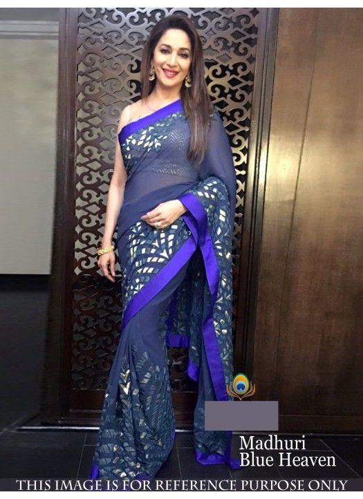 Buy Gorgeous Madhuri Dixit Blue Saree