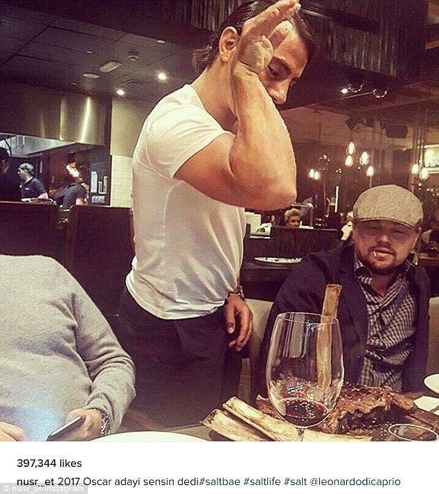 The meme and the movie star: Social media sensation Nusret 'Salt Bae' Gökçe played host to Leonardo DiCaprio at the Dubai branch of his steakhouse chain Nus-ret, doing his trademark flourish as he seasoned the actor's meal