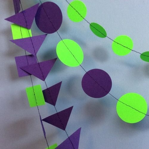💜💚💜💚 Purple and green Halloween decor - multi strand garland - Handmade by Paper Street Dolls  #oogieboogie #greenandpurple #halloweeniscoming #Halloween #halloween2017 #garlands #bunting #decor #spooky #handmade #halloweendecor #halloweenparty #orangeandblack #homedecorations #trickortreat #happyhalloween #partydecor #halloweeninspo #instahalloween
