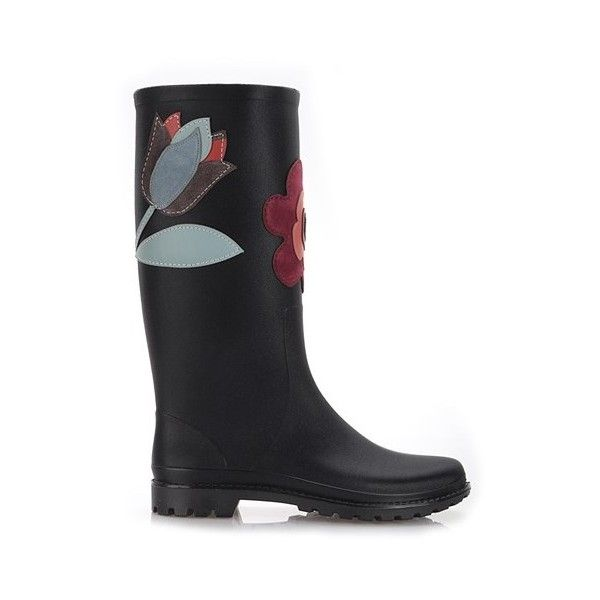 RED VALENTINO Rain Boots With Suede Flowers (1.050 BRL) ❤ liked on Polyvore featuring shoes, boots, black, colorful shoes, flower boots, black rubber boots, wellington boots and black wellington boots