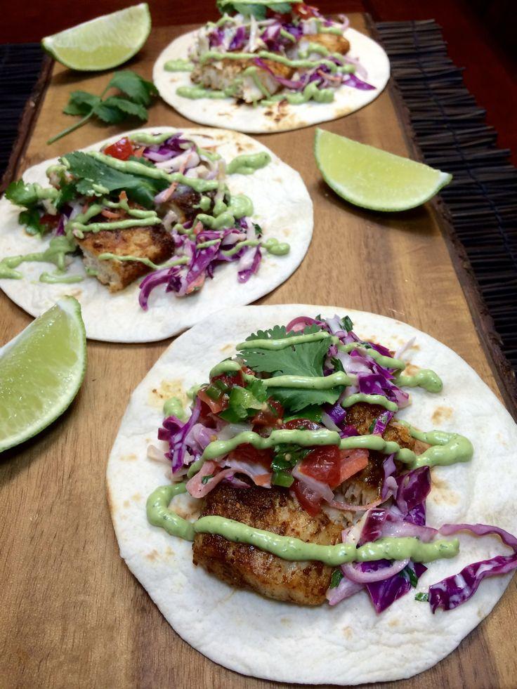 Grilled Mahi-Mahi Tacos with Avocado Cilantro Sauce
