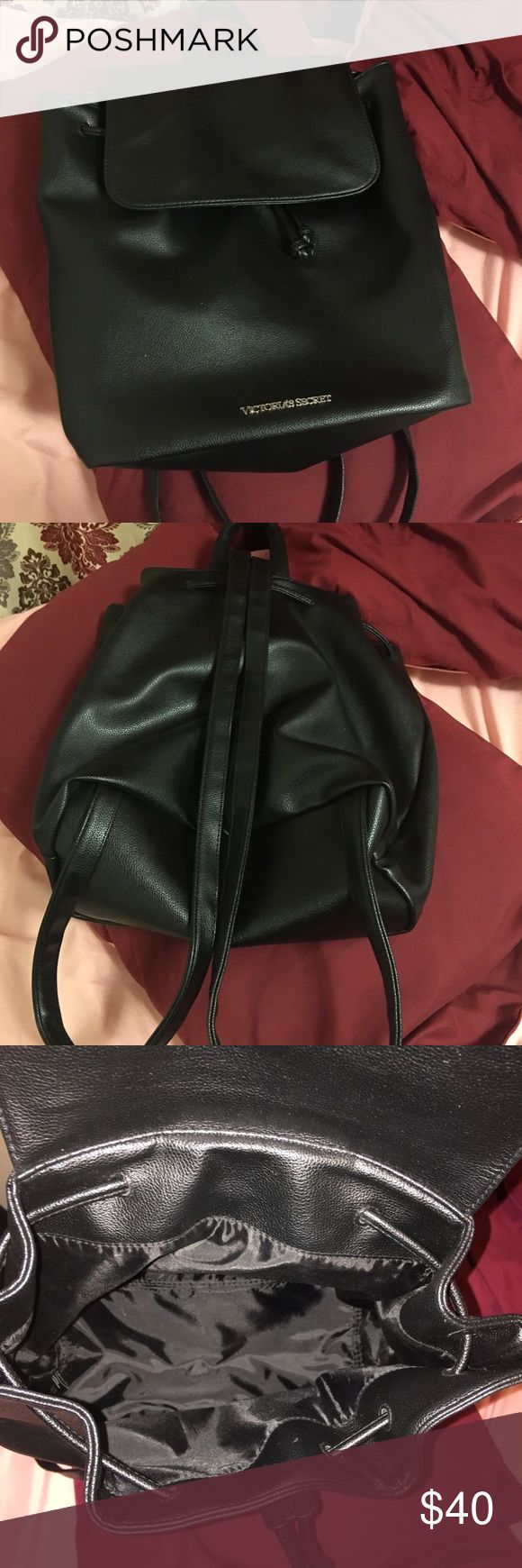 """SALE Victoria's Secret black leather backpack Absolutely gorgeous- used only once. Fits my 13"""" MacBook pro and a few other things. No stains, marks or any signs of wear. Victoria's Secret Bags Backpacks"""