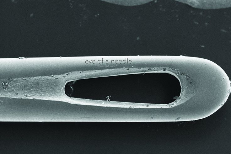 Помещенную в игольное ушко фигурку можно разглядеть только в растровый электронный микроскоп