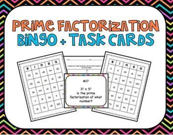 Prime Factorization Bingo and Task Cards, Common Core Alig