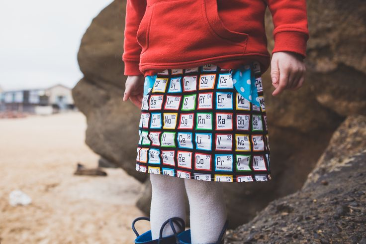 You've gotta love a skirt with functional pockets! Available in a range of themed 100% cotton prints, including this bright periodic table pattern for your little (or not so little) scientist. Made to order in sizes 1-10. Ships worldwide (except North America, due to insurance cover exclusions - sorry) from Australia.