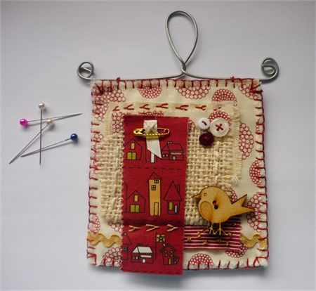 Tiny Shabby Hanging - original textile art by Maree Clark