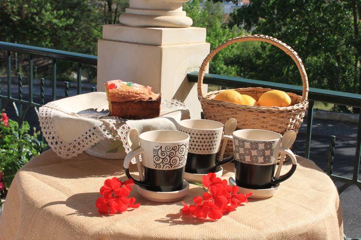 Canecas ❀ Sixties - Com suporte e colher em cerâmica, uma caneca com diferentes padrões. ✿ Ondas ✿ Estrelas ✿ Moinhos Inspired by Lemon